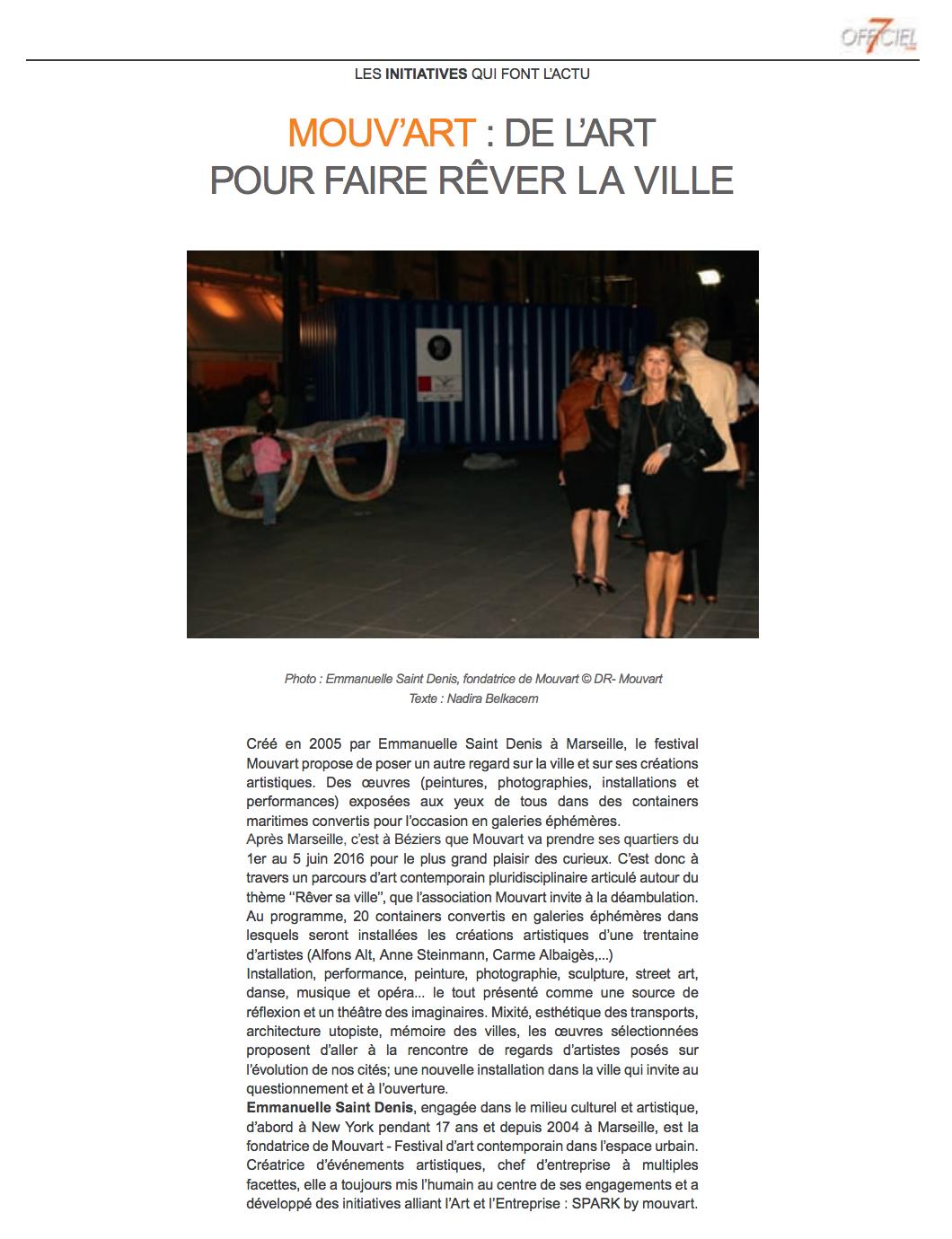revue de presse 7Officiel pour Mouvart